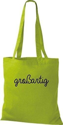 ShirtInStyle Bolsa de tela, Bolsa de algodón, Shopper divertido Tipo Frase gran verde lima