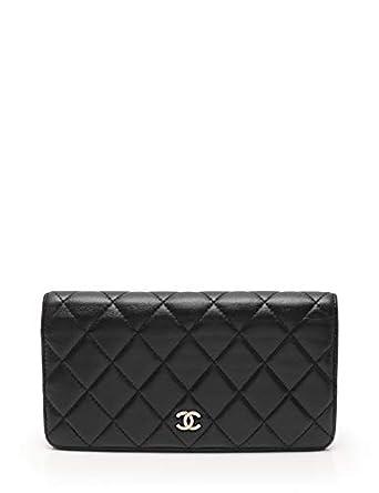 97d2f1b880ab Amazon.co.jp: (シャネル) CHANEL マトラッセ ココマーク 二つ折り長財布 レザー 黒 シルバー金具 A31509 中古:  服&ファッション小物