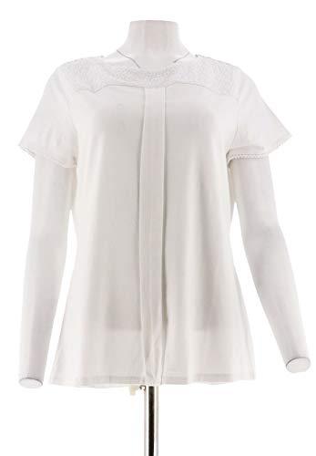 (Isaac Mizrahi Short SLV Crewneck Knit Top Lace Yoke Bright White XS New A275428)