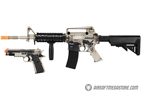 Sig_Sauer Patrol Kit w/Spring Pistol & M4 AEG Airsoft Rifle [5000 BBS Included] (Clear)