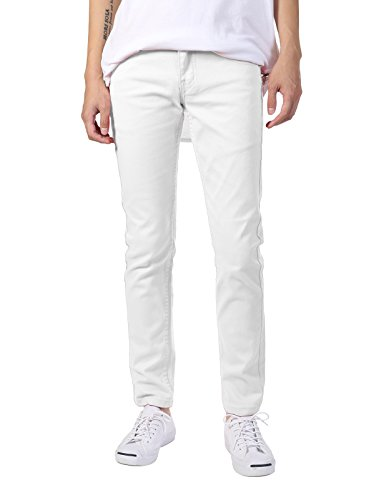 JD Apparel Men's Basic Casual Colored Skinny Fit Twill Jeans 30Wx30L White (Jeans For Men Colored Slim Fit)