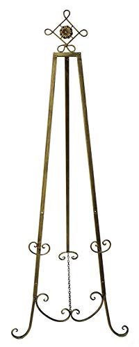 """Designstyles Decorative Metal Easel Stand – Adjustable Floor Display for Art Pieces, Signs, Mirrors and Chalk/Dry Erase Boards - 61.5"""" Tall, Antique Finished Iron, Gold – Diamond Tip – 2 Pack from Designstyles"""