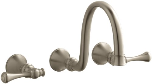 (KOHLER K-T16106-4A-BV Revival Wall-Mount Faucet with Traditional Lever Handles, Vibrant Brushed Bronze)