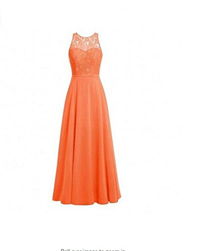 Orange Long Chiffon Lace Top O Prom Hollow Dress Botong Dress Back Neck Bridesmaid Party WSCnTBf