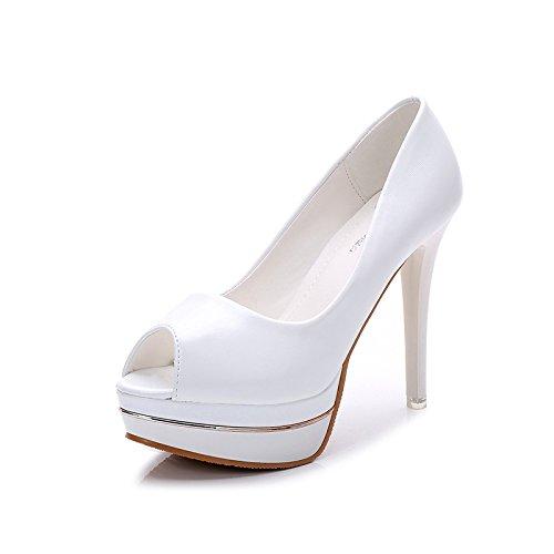 fino cuero super 12 XiaoGao Tacon zapatos de cm boca de Blanco tacon brillante pez tacon de zqx6Bt