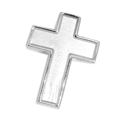 Chaplain Silver Finish Cross Lapel Pin - Religious Christian Latin Ornate Official Brooch -