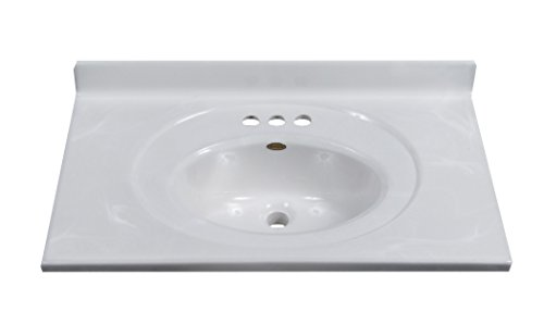 Imperial FS3119W Bathroom Vanity Top with Recessed Center Oval Bowl, White on White Gloss Finish, 31-Inch Wide by 19-Inch Deep -