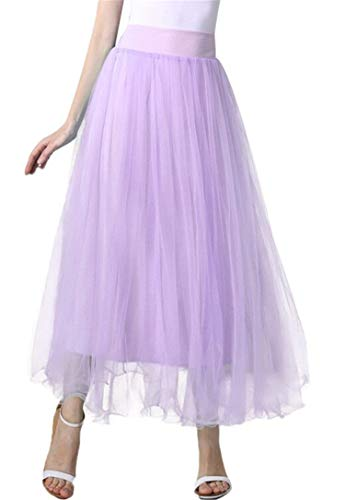 Women A line mesh Tulle Skirt Knee Length Elastic Waist for Evening Party Prom Formal Skirts (Lavender, Small,US 4-12)