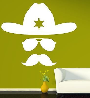 6d65761d Image Unavailable. Image not available for. Color: Large Wall Vinyl Sticker  Decal Abstract Sheriff Hat Glasses Mustache ...