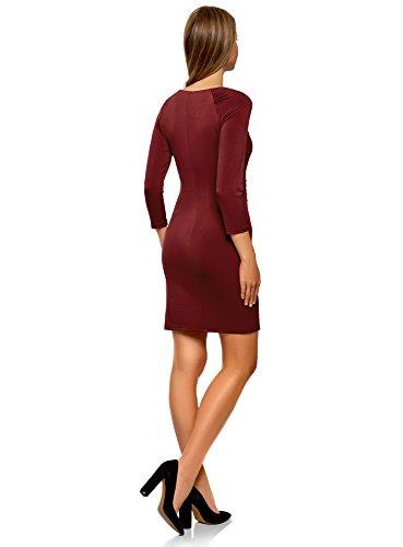 oodji con 4900n Cremalleras Collection Ajustada Decorativas Silueta Rojo Mujer Vestido de TwOxUrTq