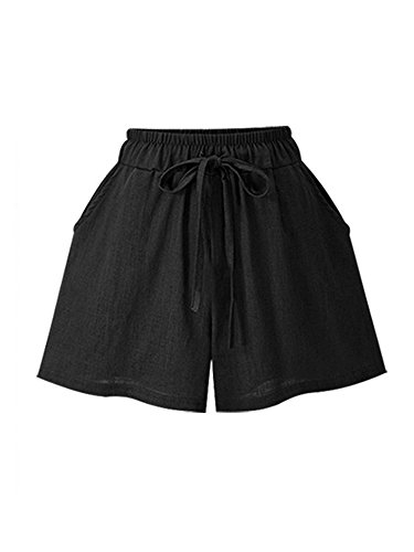 Women's Elastic Waist Cotton Linen A Line Wide Leg Summer Hot Shorts with Drawstring Black Tag 5XL-US 12 ()