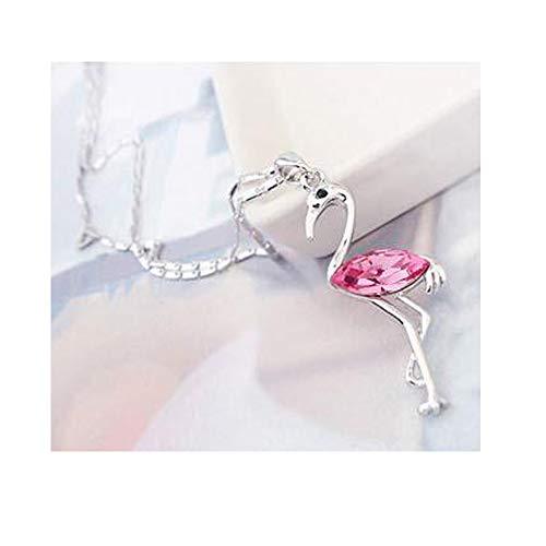 RUIZHEN Gorgeous Pink Crystal Flamingo Bird Pendant Necklace (Pink)