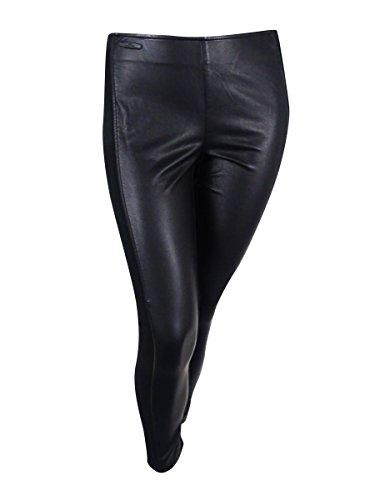 Faux Leather Trim Leggings - 5