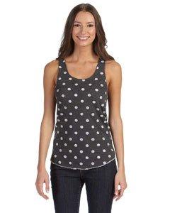 Alternative Women's Meegs Racer Tank Top, White Polka Dot, Large (Black And White Polka Dot Tank Top)