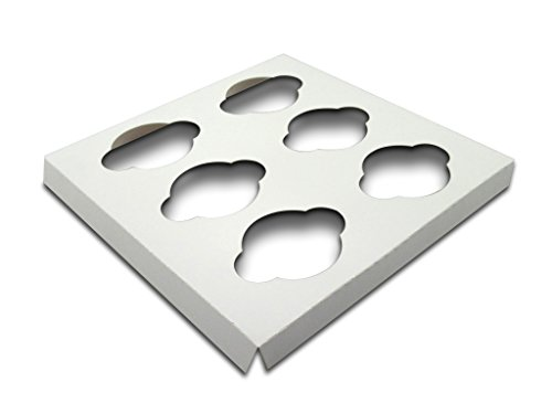 W PACKAGING WP10CI6C 10x10 White/White Cupcake Insert with 6 Cavities for Holding Regular Cupcakes in Cake Box (Pack of 200)
