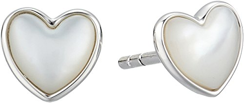 Fossil Women's Sterling Stud Heart Earrings Silver One - Gift Fossil Box