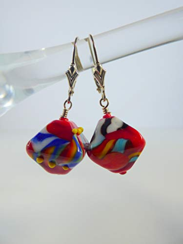 Bright Color Crystal-shaped Lampwork Bead Earrings with Sterling Silver Findings and Leverback Ear (Lampwork Crystal Sterling Earrings)