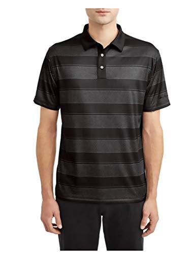 Perry Ellis Ben Hogan Men's Performance Short Sleeve Fading Stripe Golf Polo Shirt - Caviar/Black (Small)