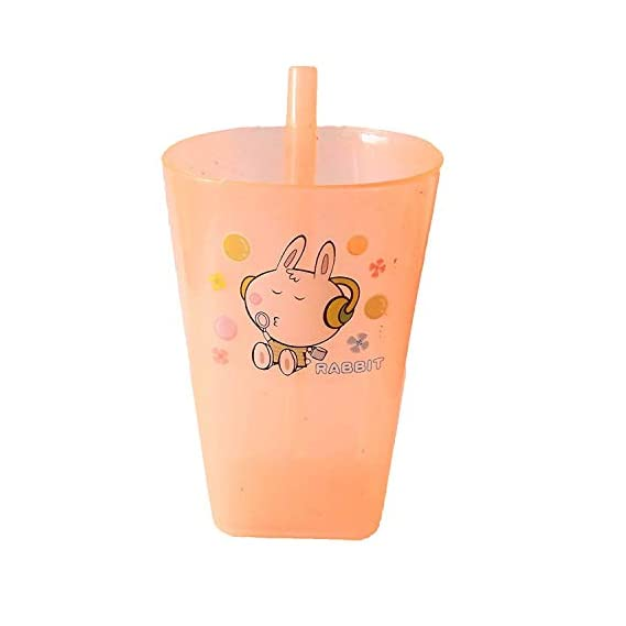 Aatira Kid School Accessories Mini Baby Sipper Glass with Straw for Toddler Infants for Milk an Drink Water for Travel Use Peach