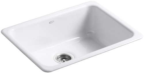 - KOHLER K-6585-0 Iron/Tones Self-Rimming Undercounter Kitchen Sink, White