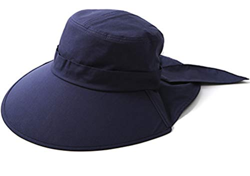 Ls Lady Womens Summer Flap Cover Cap Cotton Anti-UV UPF 50+ Sun Shade Hat with Bow. Adjustable Hat (One Size,0 Blue)