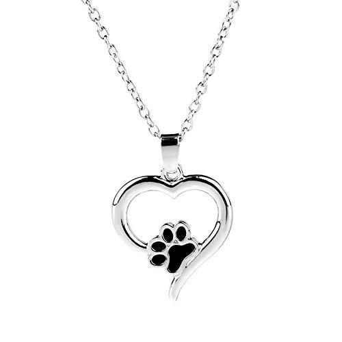 (Zinc Alloy Cat Foot Heart Necklaces Women Jewelry Pendant)