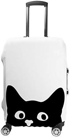 スーツケースカバー トラベルケース 荷物カバー 弾性素材 傷を防ぐ ほこりや汚れを防ぐ 個性 出張 男性と女性白い背景で覗く猫