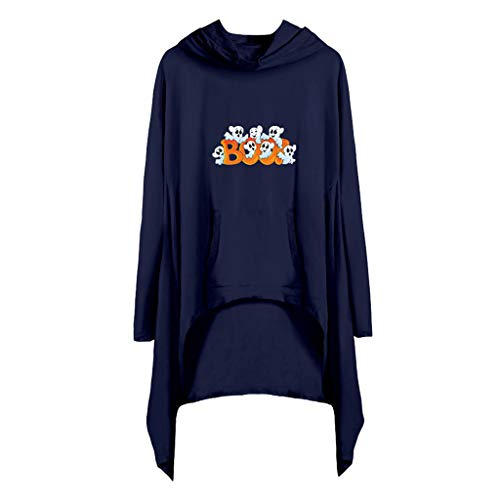 GREFER Halloween Tops Womens Funny Pattern Long Sleeve T Shirts Fall Casual Hooded Pullover Pockets Irregular