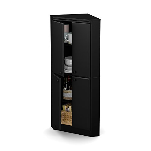 South Shore 4-Door Corner Armoire for Small Space with Adjustable Shelves Chocolate ()