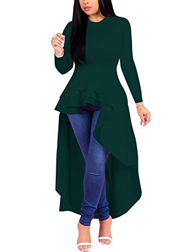 e6a1d0039dca Fashion High Low Tops for Women - Unique Ruffle Long Sleeve Tunic Shirt  Dress