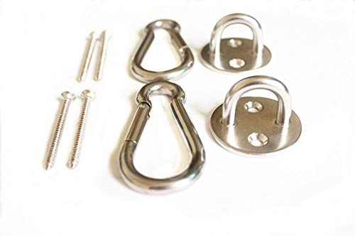 MHMYDZ Heavy Duty Premium Hammock Hooks Stainless Steel Round Pad Eyes Spring Snap Hooks and Screws Hammock Hanging Kit Indoor