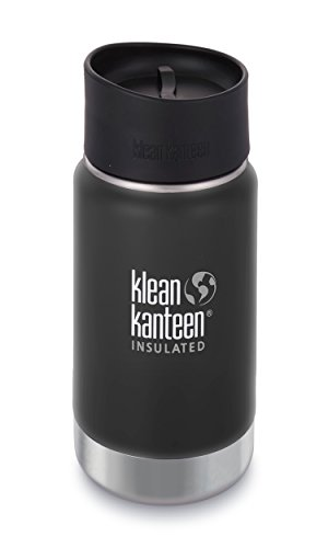 (Klean Kanteen 12oz Wide Mouth Stainless Steel Coffee Mug with Klean Coat, Double Wall Vacuum Insulated with Leak Proof Café Cap 2.0 - Shale Black (NEW)