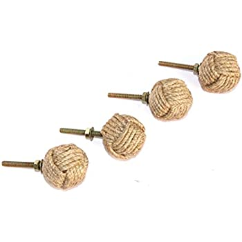 Jute Rope Shelves/Cabinet Drawer Pulls Knobs (4)