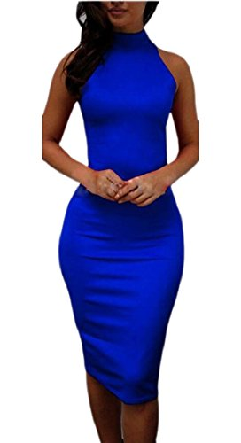 Neck 4 Womens Party High Midi Jaycargogo Dress Club Bodycon Sleeveless FBq4xUwx