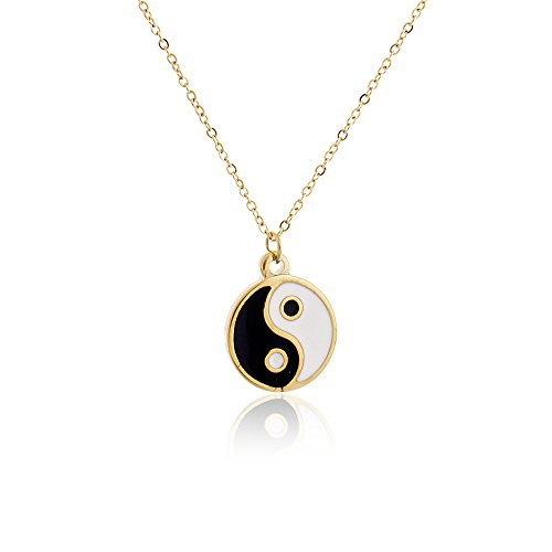 (MANZHEN Gold Silver Yin Yang Pendant Necklace for Couples (Gold))