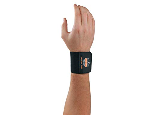 Ergodyne 72102 Universal Wrist Wrap, Black, (Pack of 6)