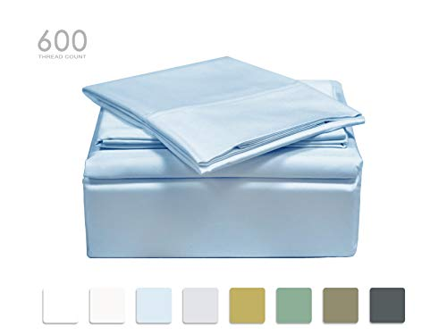 TRANQUIL NIGHTS Queen Size Blue 100% Cotton Sheet Set, 600 Thread Count, 4-Piece Set, Long Staple Combed Cotton, Sateen Weave, Classic Z Hem, Ultra Soft & Shine, Fits Mattress Upto 17