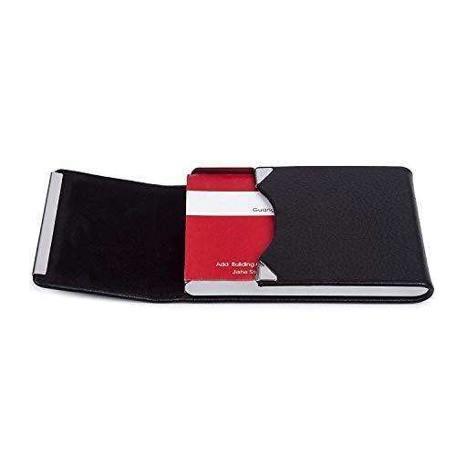 Leather Business Card Holder,Slim RFID Blocking Business Card Case Metal Front Pocket Wallet with Magnetic Shut Black