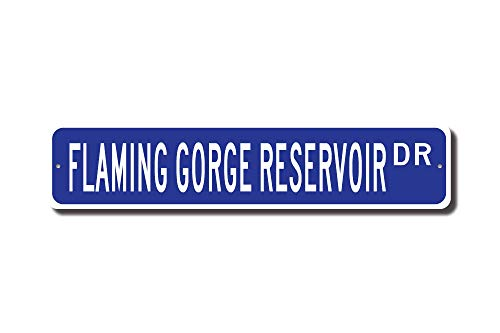 (Iliogine Flaming Gorge Reservoir Sign Flaming Gorge Lake Visitor Wyoming Lake Street Sign Funny Words Tin Sign Gift)