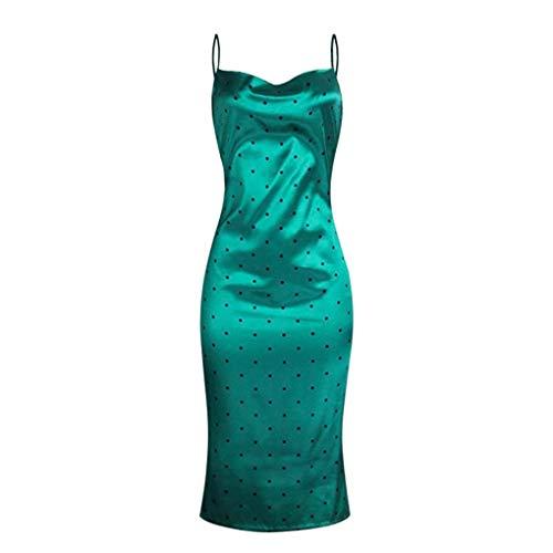 (Sexy Spaghetti Strap Satin Midi Dress Summer Casual Polka Dot Bodycon Dress Female Leopard Print Slim Green M)