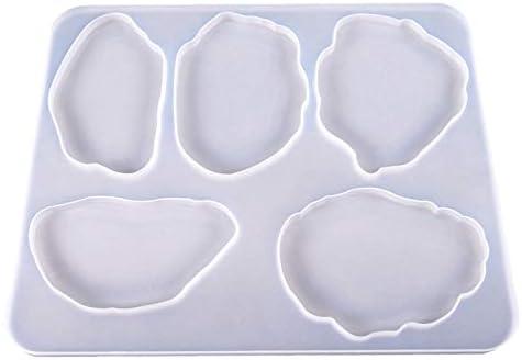 Schmuck Halter Dish SODIAL Achat Scheibe Silikon Harz Schimmel Epoxid Harz Schimmel f/ür DIY Achat Untersetzer Innen Einrichtungen Unregelm??Ige Achterbahn Schimmel mit 5-Cavity