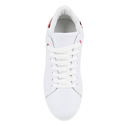Stiefelparadies Damen Sneakers Sneaker Low Metallic Cap Sportschuhe Leder-Optik Glitzer Freizeit Schnürer Prints Samt Trainers Allyear Flandell Weiss Rot Metallic