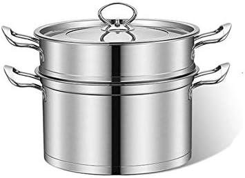 蒸し器 ステンレス鋼の大容量スーパー太いディープヨーロッパのダブル層スチーマーダブルボトムライトアングルの二層構造のスープスチーマー 蒸し料理に (Color : Silver, Size : 30x21cm)