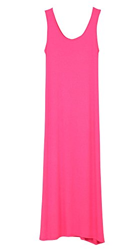 Shawhuaa Womens Basic Casual Sleeveless Tank Long Maxi Dress Sundress (One Size, Rosy)
