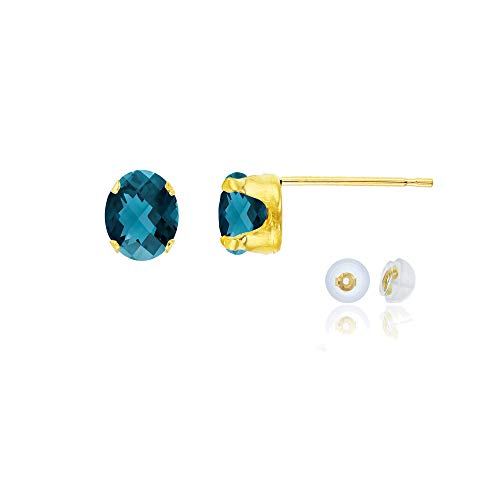 Genuine 14K Solid Yellow Gold 6x4mm Oval Natural London Blue Topaz December Birthstone Stud Earrings