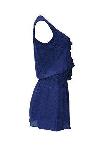 Seide Milano Marine Design MiniKleid Aline Volants Frau Pires Ana 100 UqpYO6