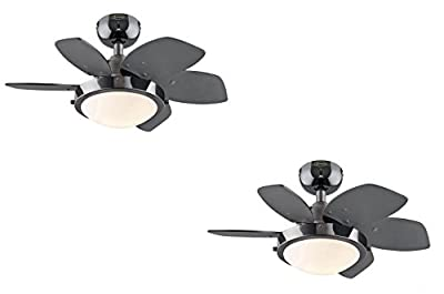 Quince Two-Light Reversible Six-Blade Indoor Ceiling Fan, 24-Inch, Opal Frosted Glass (Gun Metal 2 Pack)