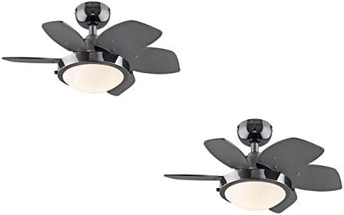 Ciata Lighting 24 Inch Quince Indoor Ceiling Fan in Gun Metal Finish with LED Light Fixture in Opal Frosted Glass with Reversible Black Graphite Blades 2 Pack