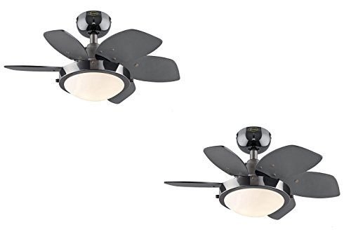 Ciata Lighting Quince Two-Light Reversible Six-Blade Indoor Ceiling Fan, 24-Inch, Opal Frosted Glass Gun Metal 2 Pack