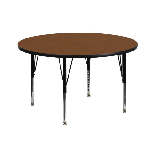 Flash Furniture 42'' Round Oak HP Laminate Activity Table - Height Adjustable Short Legs